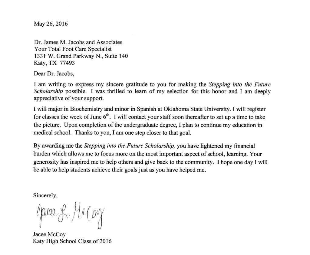 Jacee McCoy Letter 2016