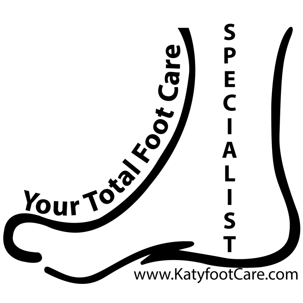 Your Total Foot Care Specialist Katy TX logo which has a black outline of a foot